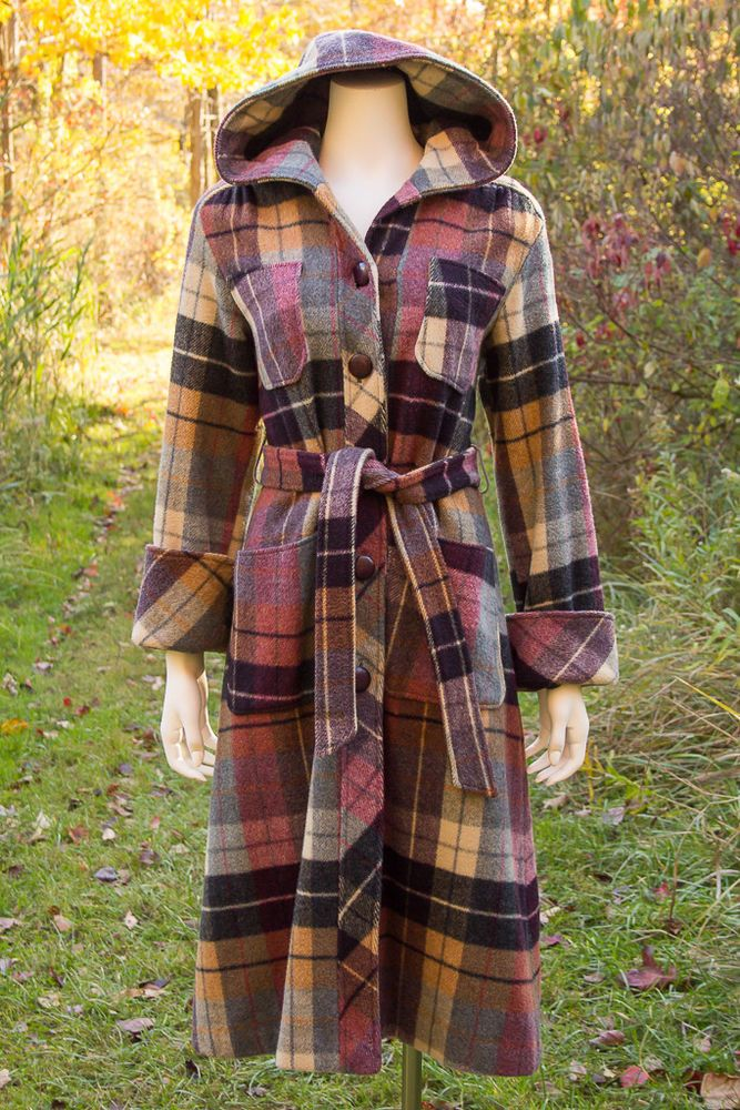 70s Red White and Blue Plaid Jacket Size SM