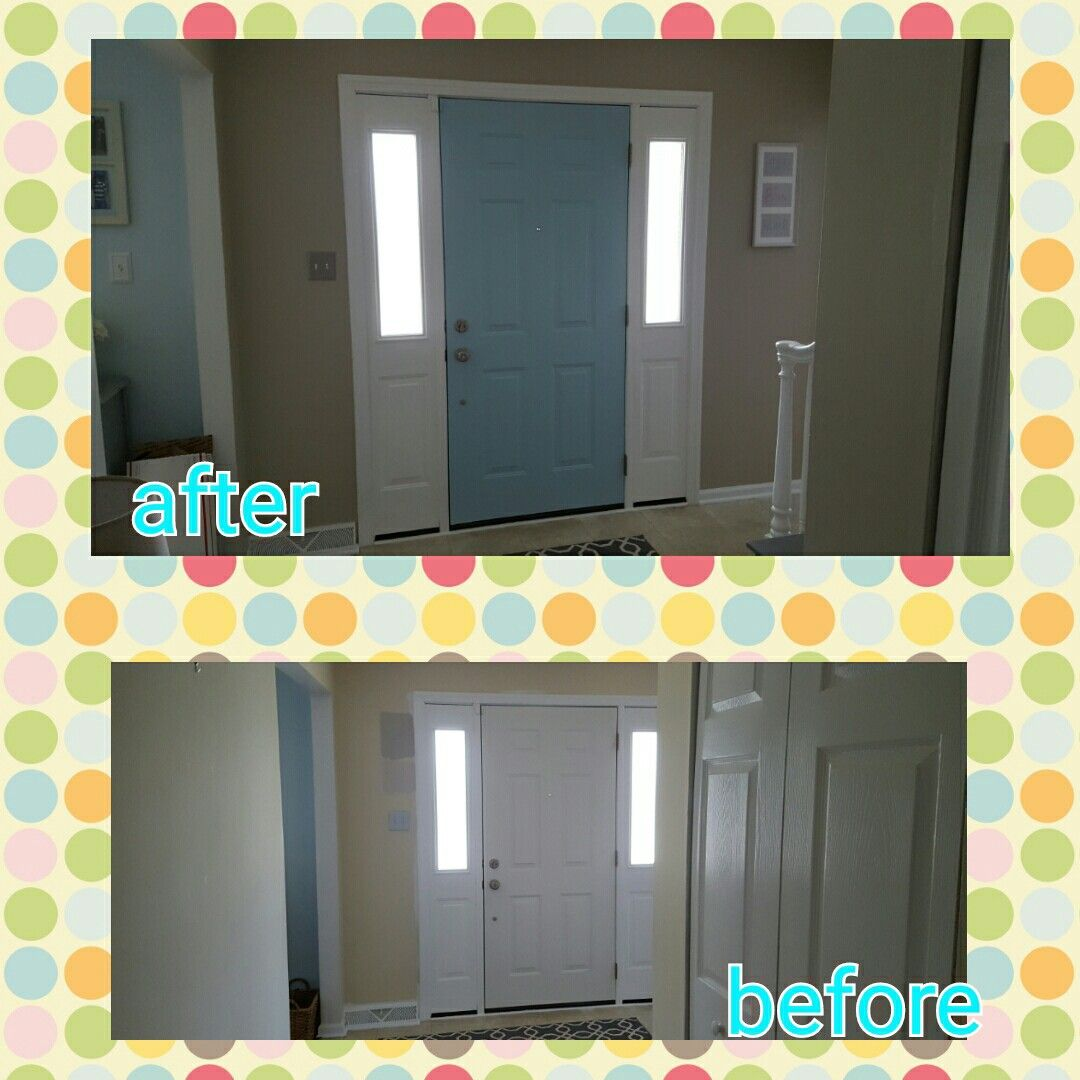 Front door painted turquoise before and after.