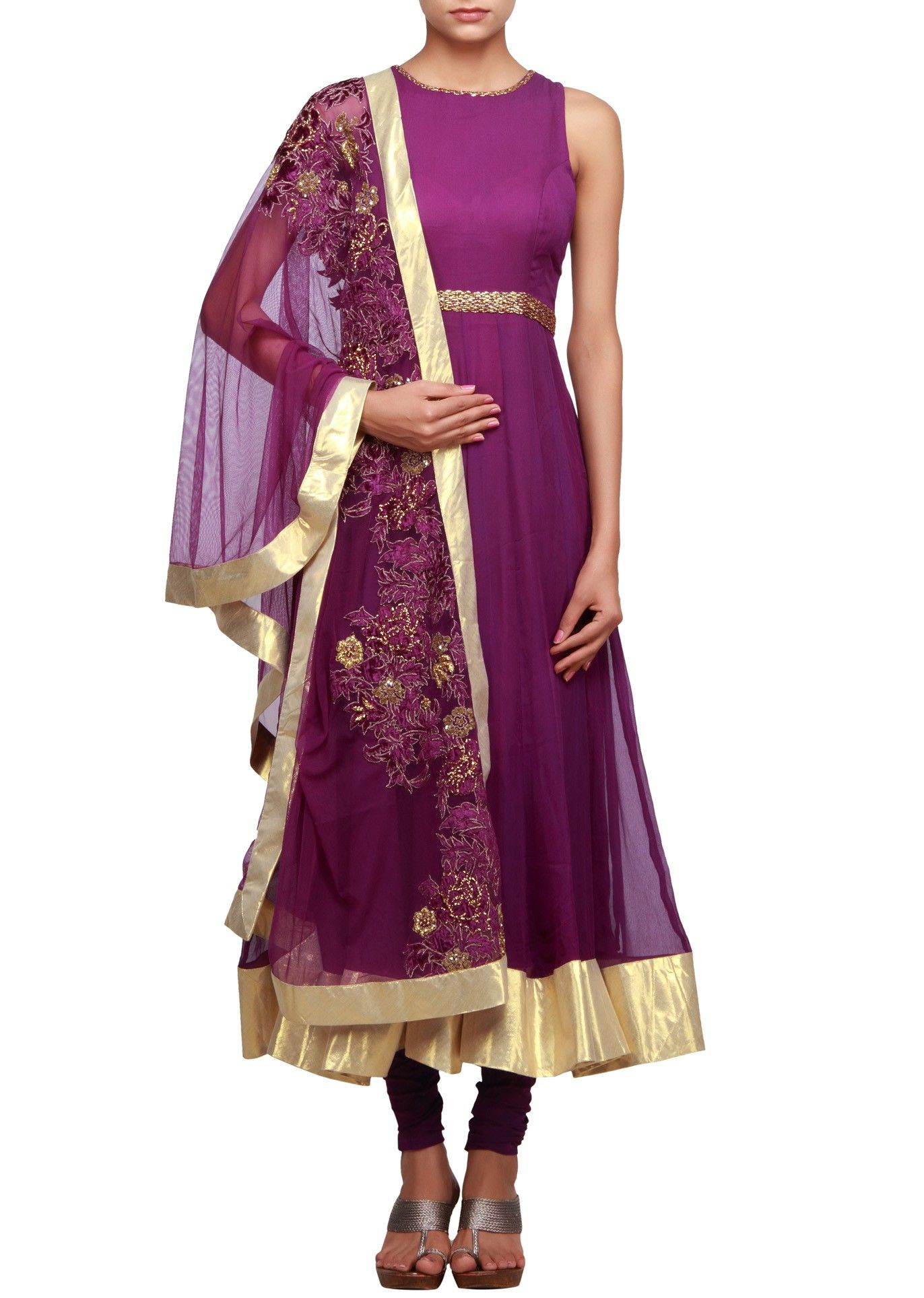 Anarkali suit in purple featuring with sequence and resham dupatta ...