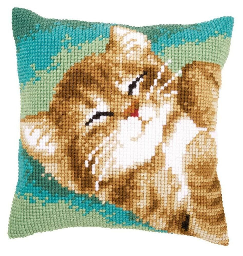 Ginger Kitten Printed chunky cross stitch cushion front kit 40x40cm by Vervaco #gingerkitten