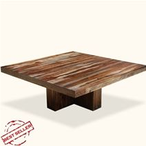 Contemporary Solid Wood Square Pedestal Dining Table For 8 People