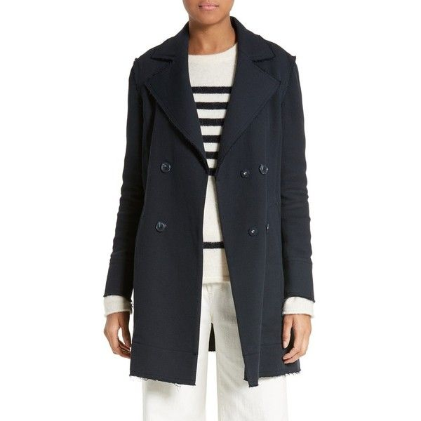 Women's Frame Raw Edge Double Breasted Coat (17,245 MXN) ❤ liked on Polyvore featuring outerwear, coats, navy, navy peacoats, double breasted pea coat, navy blue peacoat, navy pea coat and navy blue pea coat