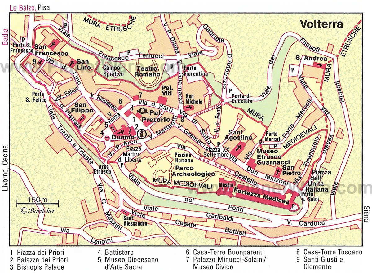 Volterra Italy Map Volterra Map   Tourist Attractions | Rome to Barcelona in 2019