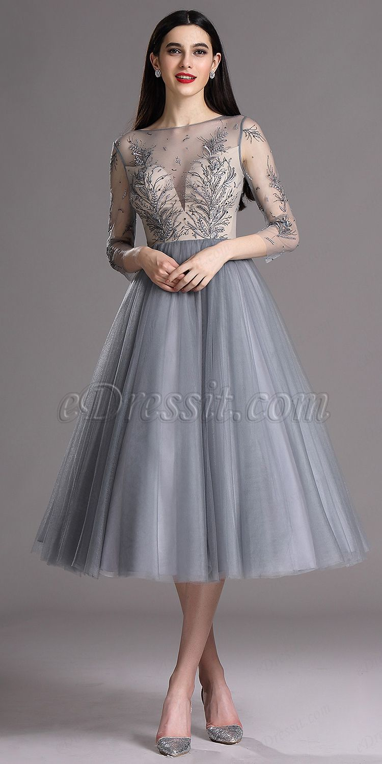 7a7772480f Grey Tea Length Party Cocktail Dress with Embroidery (04162208)