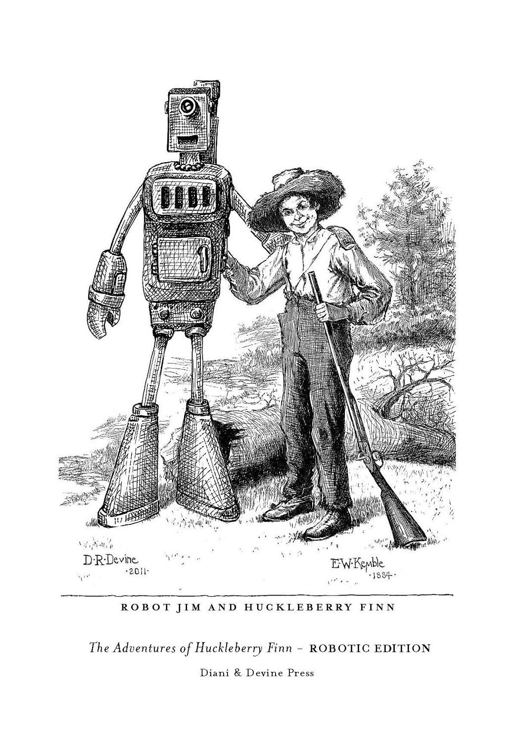 Signed Robot Jim And Huckleberry Finn Frontispiece 5x7