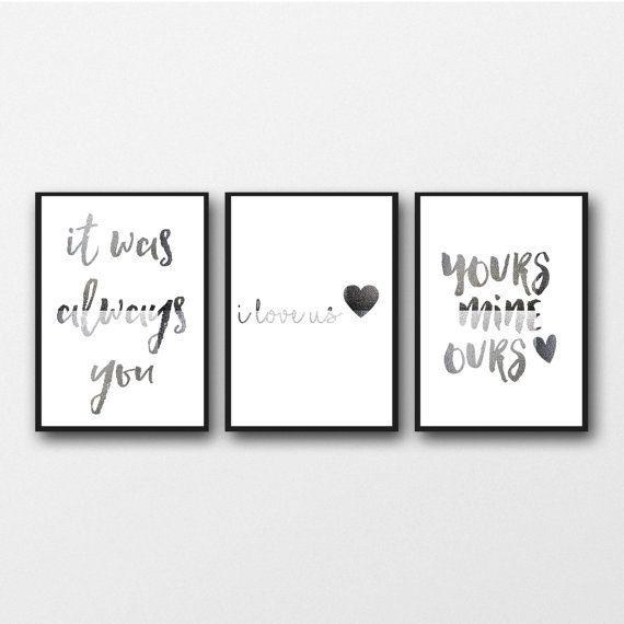 Echte Silberfolie-Set aus 3 Drucke, liebe Typografie, Schlafzimmer