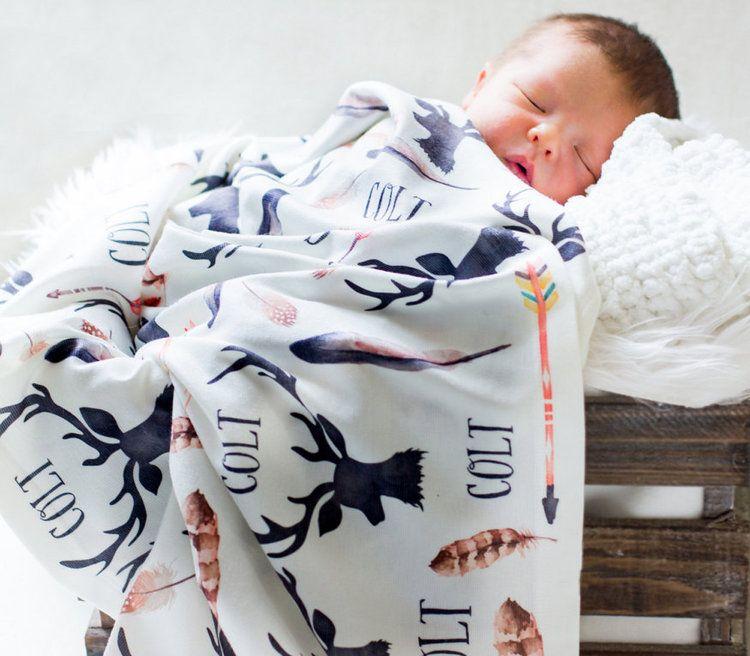Personalized baby receiving blanket deer and antlers swaddle personalized baby receiving blanket deer and antlers swaddle blanket negle Images