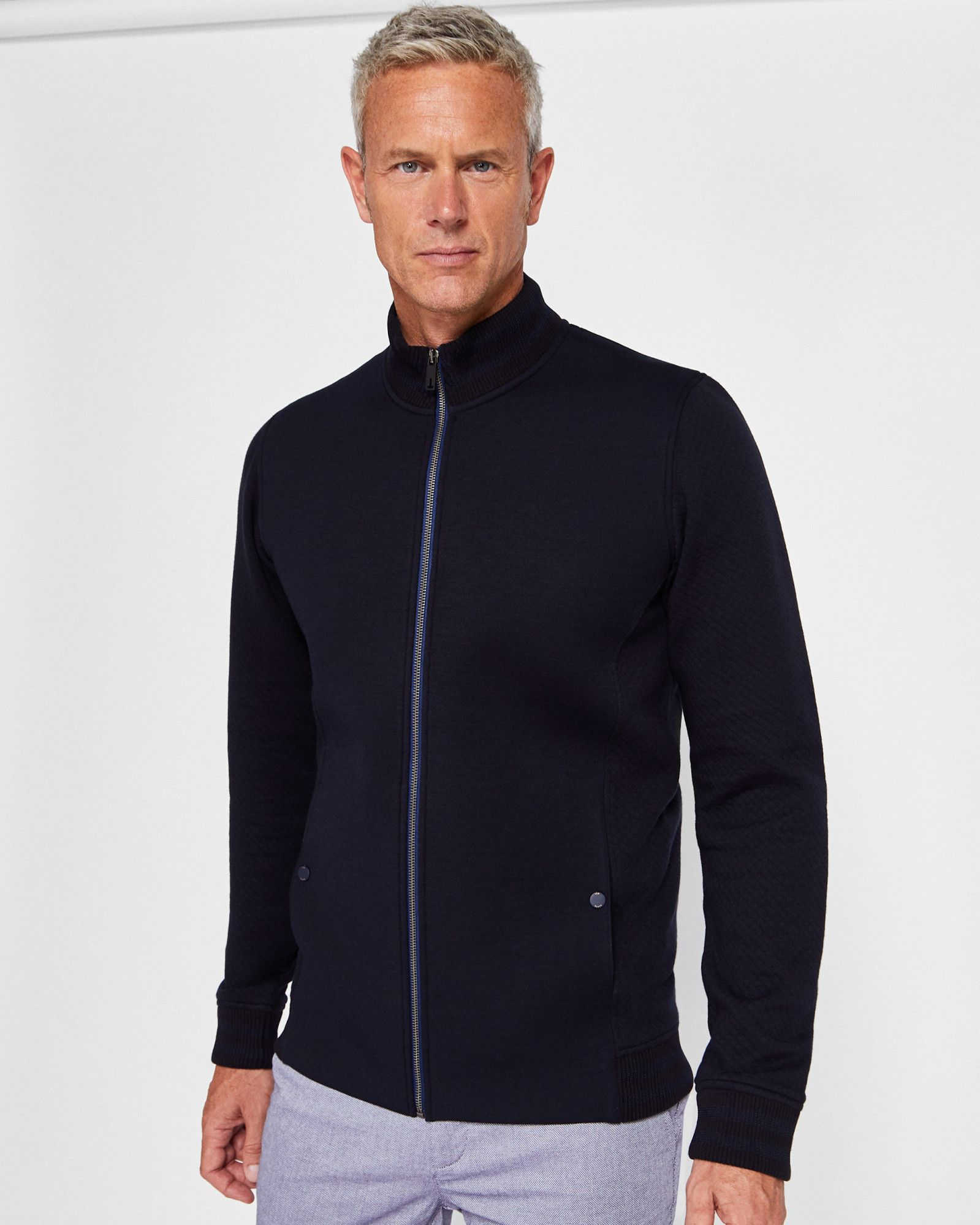Ted Baker Neoprene Bomber Jacket Navy Designer Clothes For Men Mens Outfits Clothes Design [ 2000 x 1599 Pixel ]