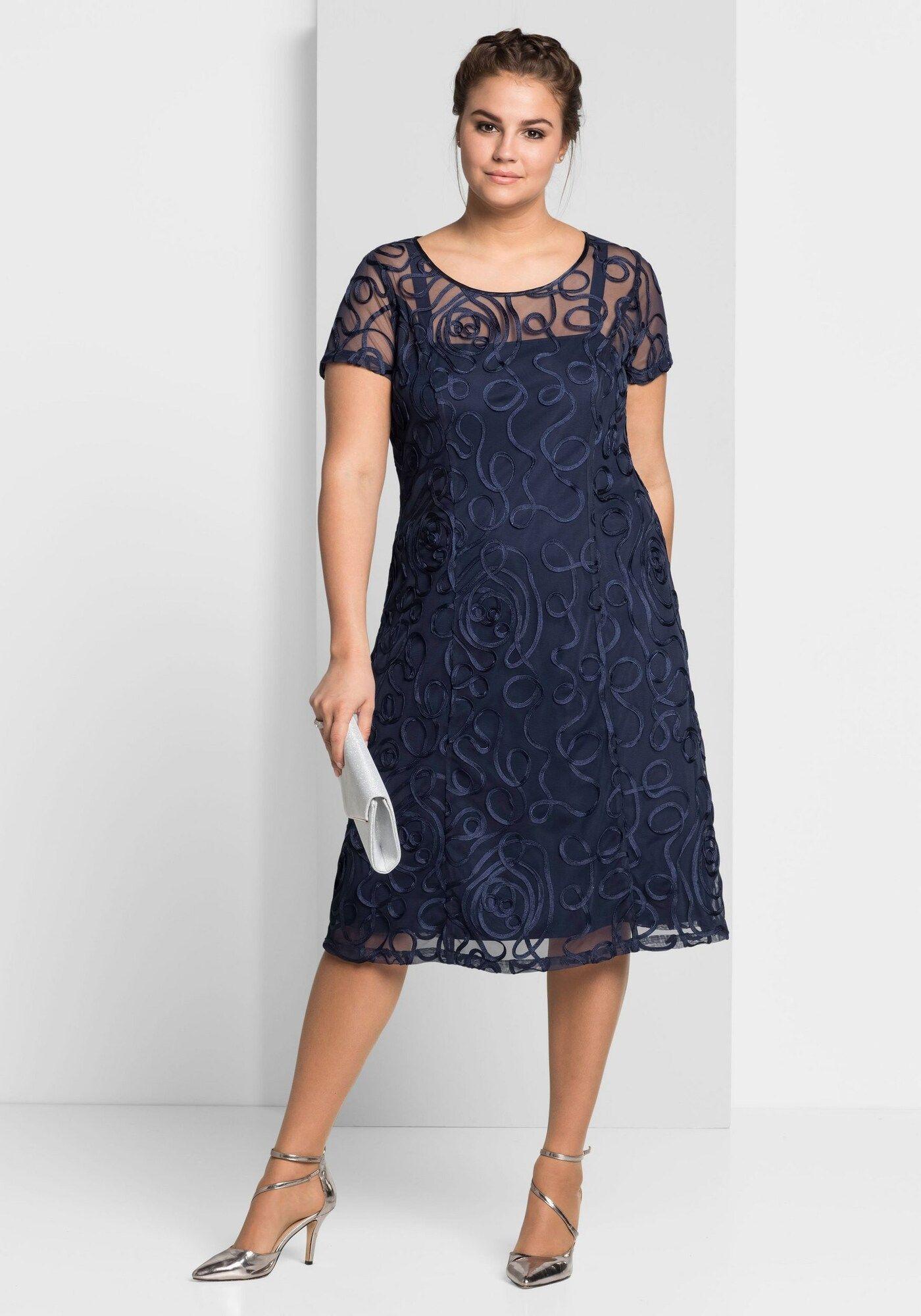 SHEEGO Spitzenkleid Damen, Nachtblau, Größe 15  Spitzenkleider
