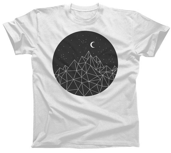 71c3d2dd5f0 Geometric Night T-Shirt - Nature Oudoors Geometry Mountains Moon Circle -  Mens and Ladies Sizes - (Please see SIZING CHART in Item Details)