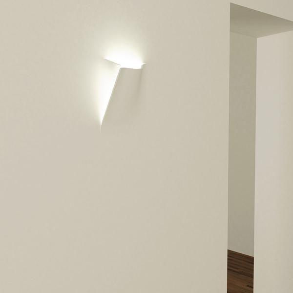 LAMPADA IN GESSO APPLIQUE MODERNO CON PORTALAMPADA E27 A