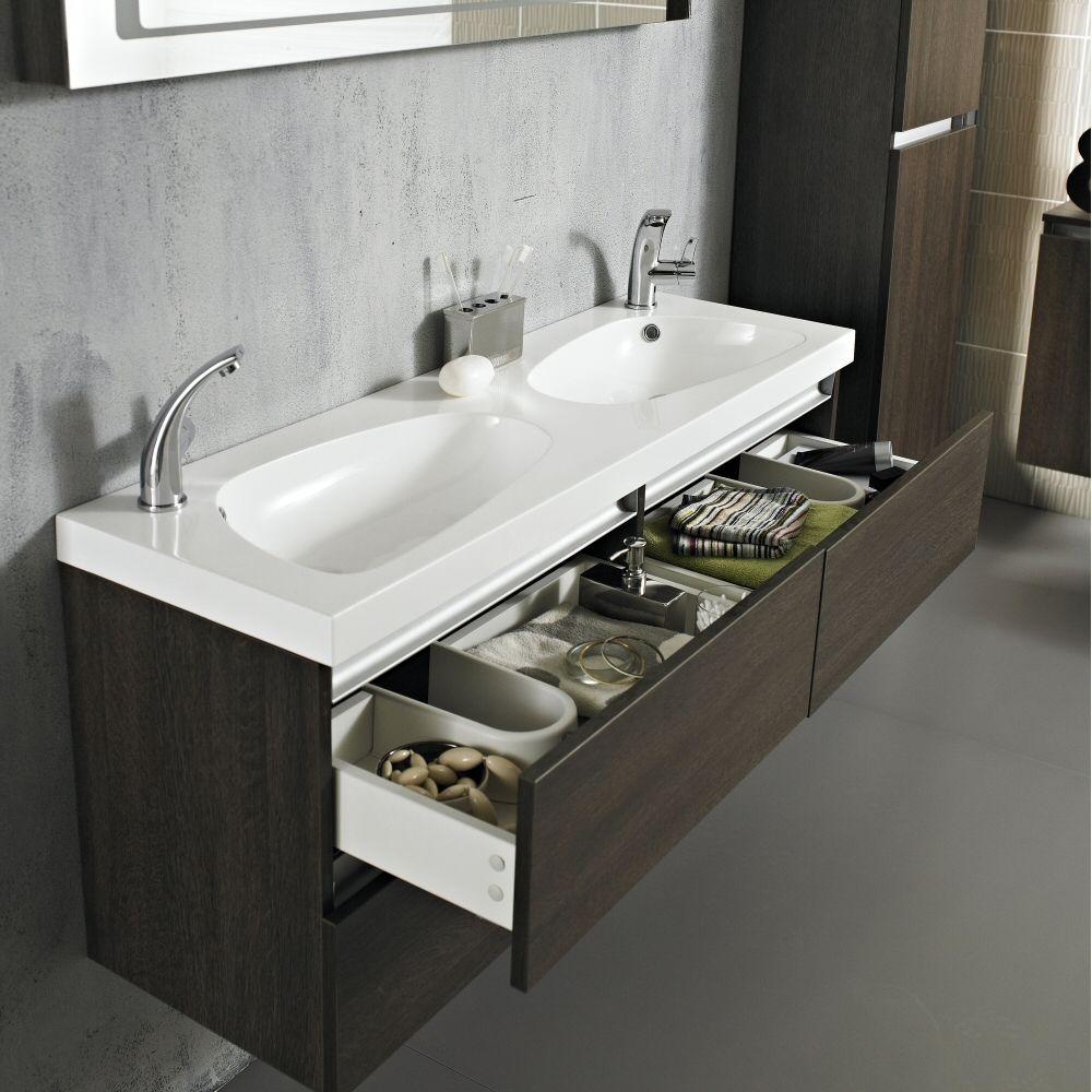 Ambit vanity unit with double basin dark oak image 1 for Double bathroom sink basin
