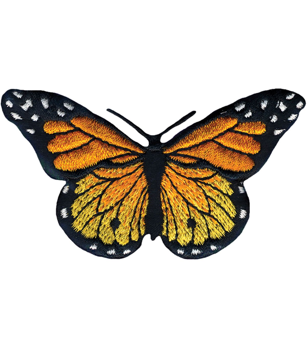 Small Monarch Butterfly Iron on Applique//Embroidered Patch Red//Black