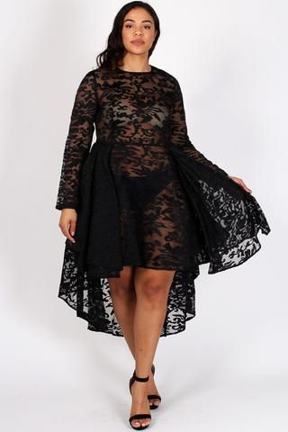 See Through Detailed Hi Lo Lace Plus Size Dress High Low Lace Dress Dresses Plus Size Dress