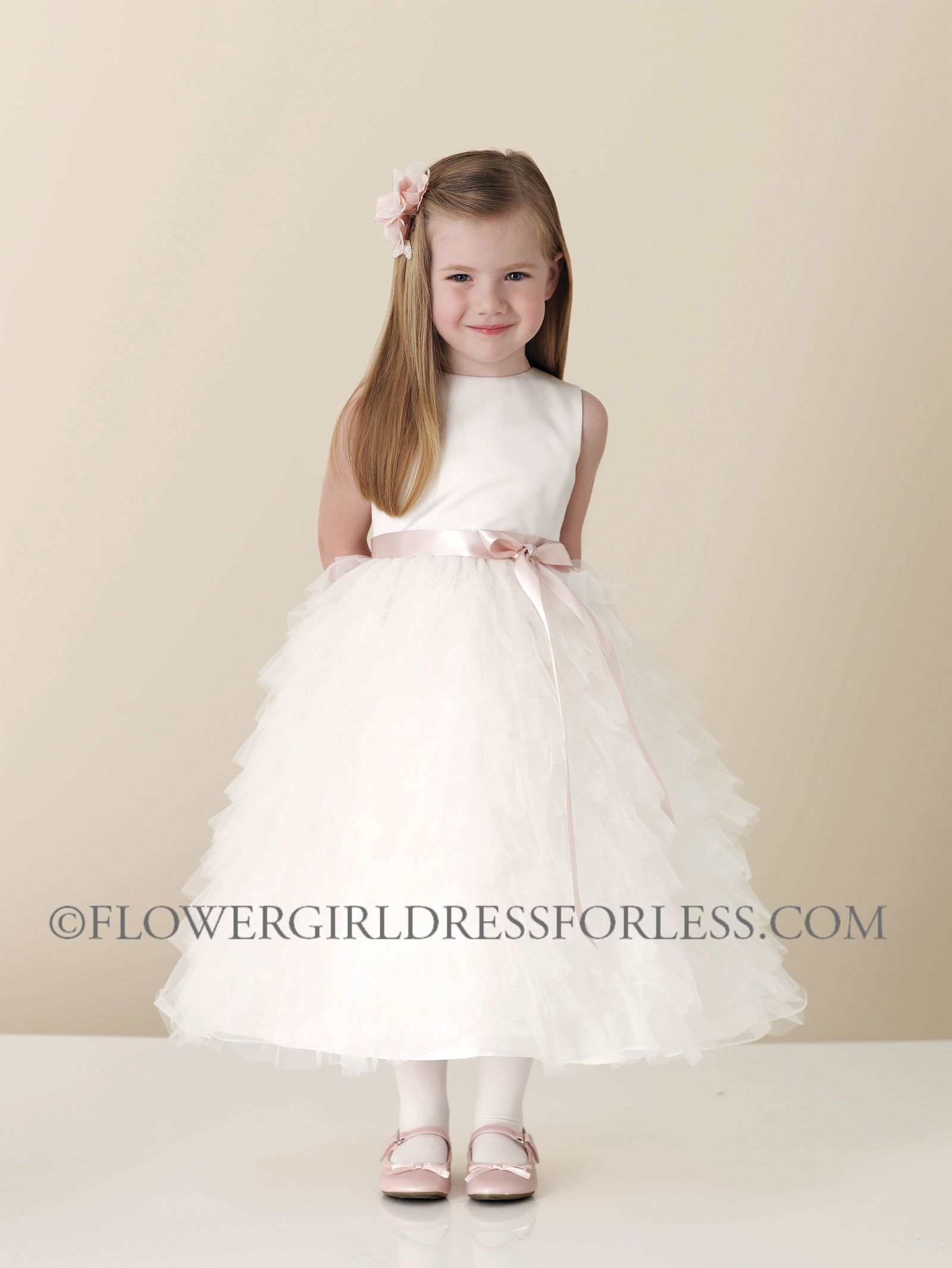 ced4832dec2 JC 110306 - Joan Calabrese Style 110306 - Sleeveless Satin and Tulle Ruffle  Dress with Choice of 31 Ribbon Color - Ivory - Flower Girl Dress For Less