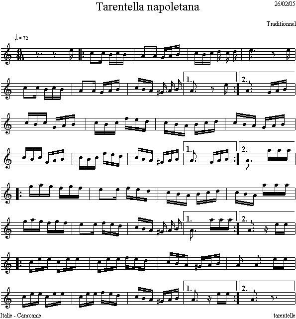 Musica E Spartiti Gratis Per Flauto Dolce: Tarantella
