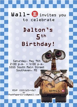 Wall E Invitation Birthday Party Ideas Pinterest Birthday