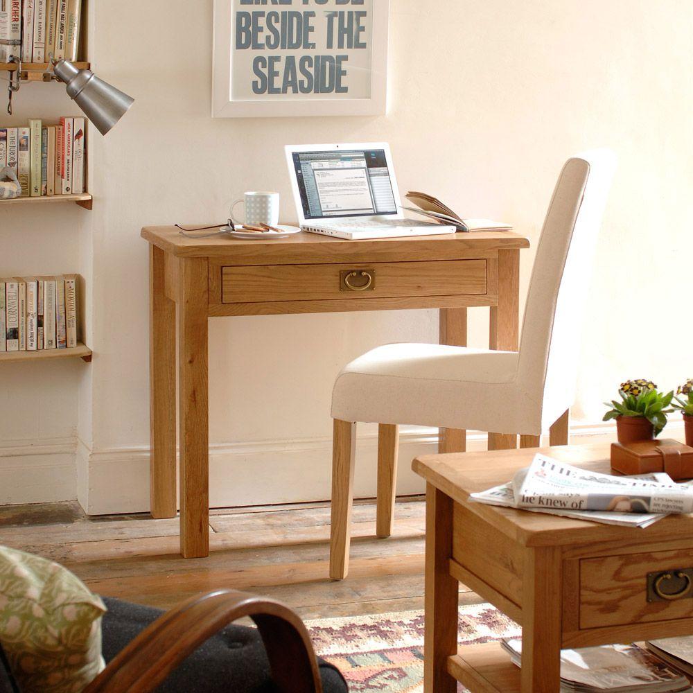 Lyon Petite Oak Small Laptop Desk P374 With Free Delivery Schreibtisch Echtholz Buromobel Mobel