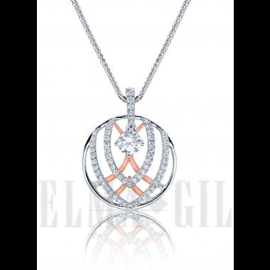ELMA*GIL 18K White and Rose Gold Semi-Mount Diamond Pendant DP-314