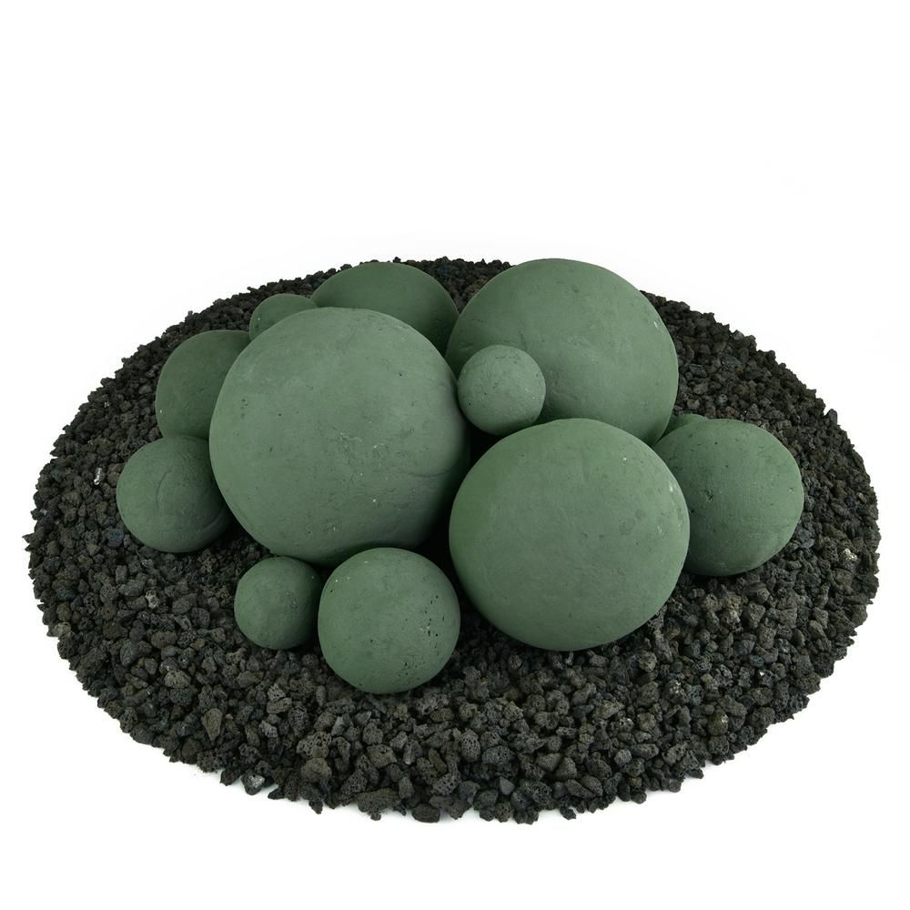 Photo of Mixed Set of 13 Ceramic Fire Balls in Slate Green-01-0436 – The Home Depot