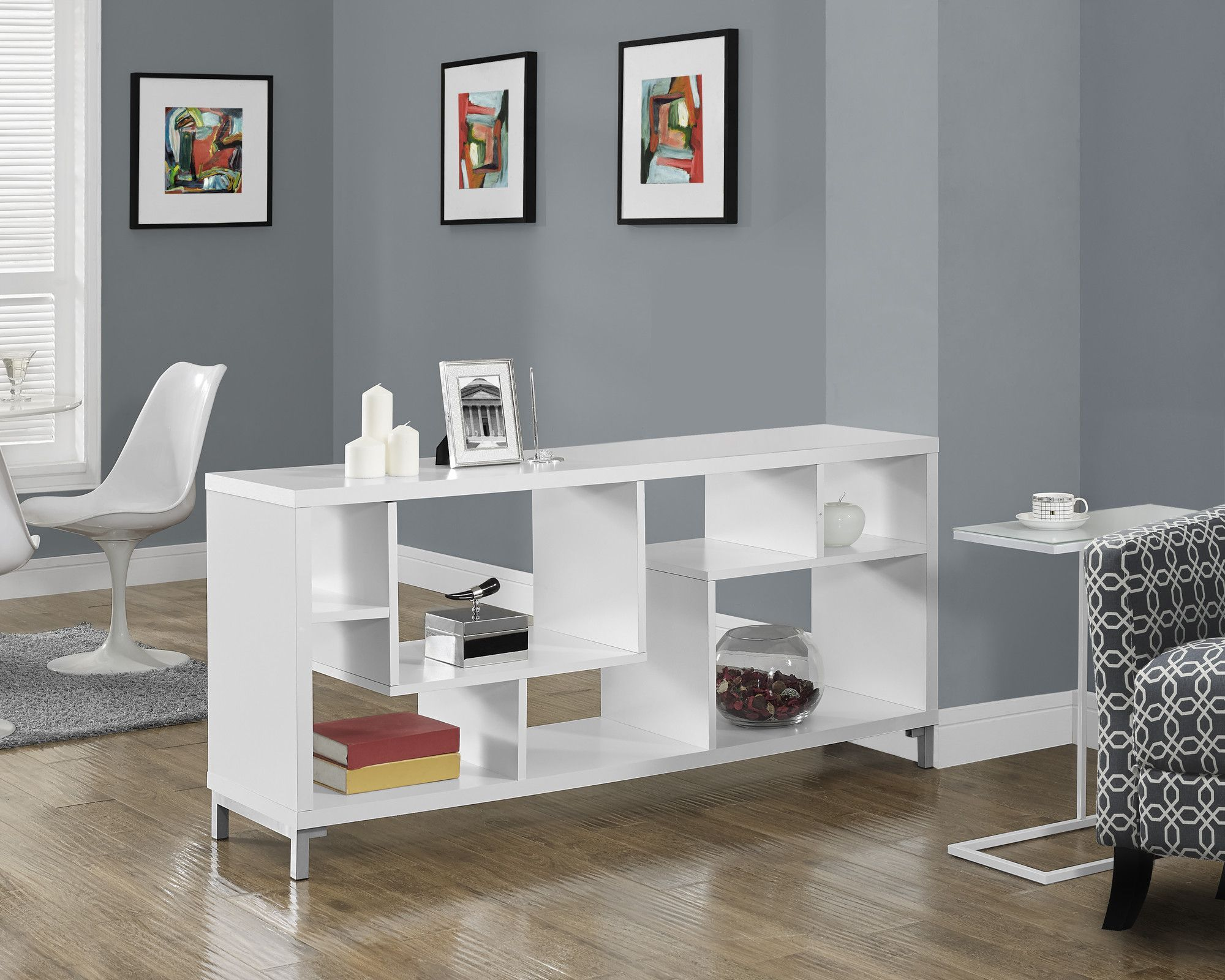 White hollow core 60l tv console muebles melamina diseos white hollow core 60l tv console geotapseo Image collections