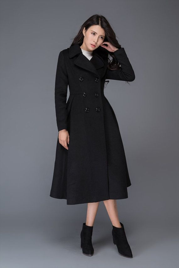 21f838b42d41 Wool coat winter coat long coat black coat womens coats | Passion ...