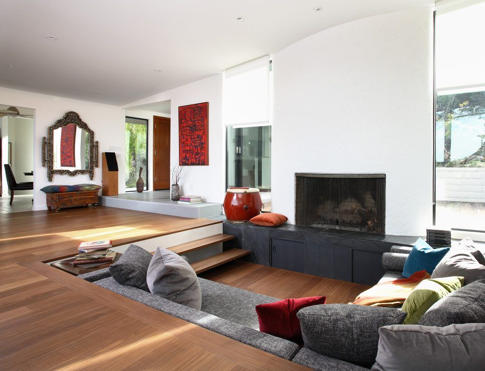 Conversation Pit Living Room Eclectic With Gray Sofa