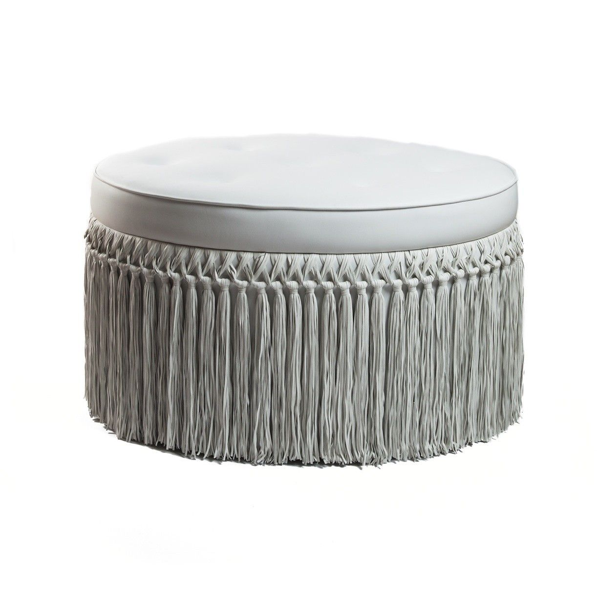 BARBARELLA LUXE LEATHER FRINGED OTTOMAN   FOOTSTOOLS   FOOTSTOOLS, FRINGING  AND OCCASIONAL FURNITURE