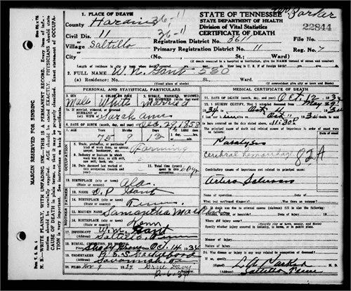 william newton gant death certificate | the places and memories of ...