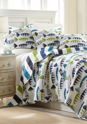 Elise  James Home   Fish Pond Reversible Quilt Collection