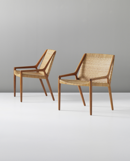 Ejnar Larsen And Aksel Bender Madsen; Teak And Cane Lounge Chairs For Willy  Beck, Furniture.