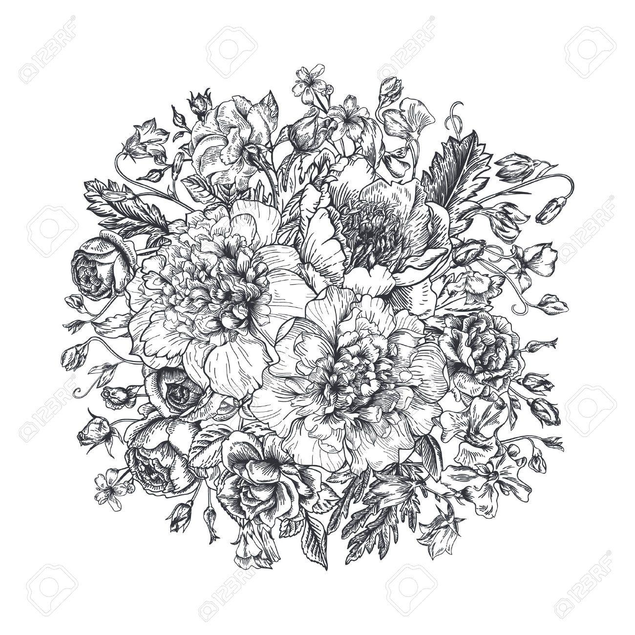 Bouquet De Fleurs Dessin Noir Et Blanc