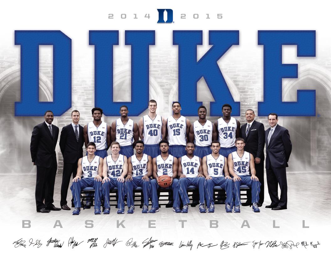 Duke Men's Basketball Roster Card (20142015) CAMERON
