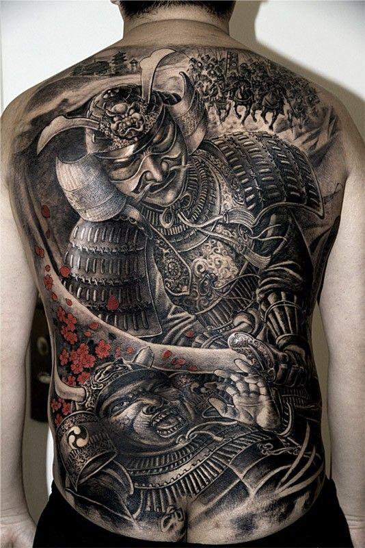 Download Free fighting samurai warriors tattoo on full