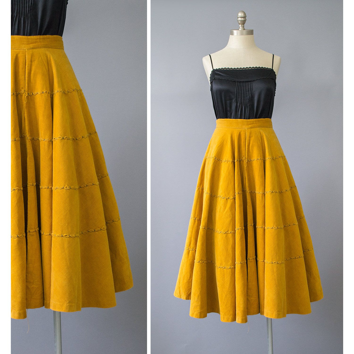 c53395a124ff Vintage 50s Skirt / 1950s Gold Corduroy Circle by recyclinghistory ...