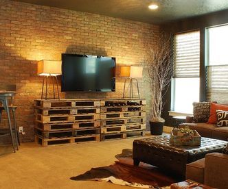 diy pallets living room entertainment center with pallets via http