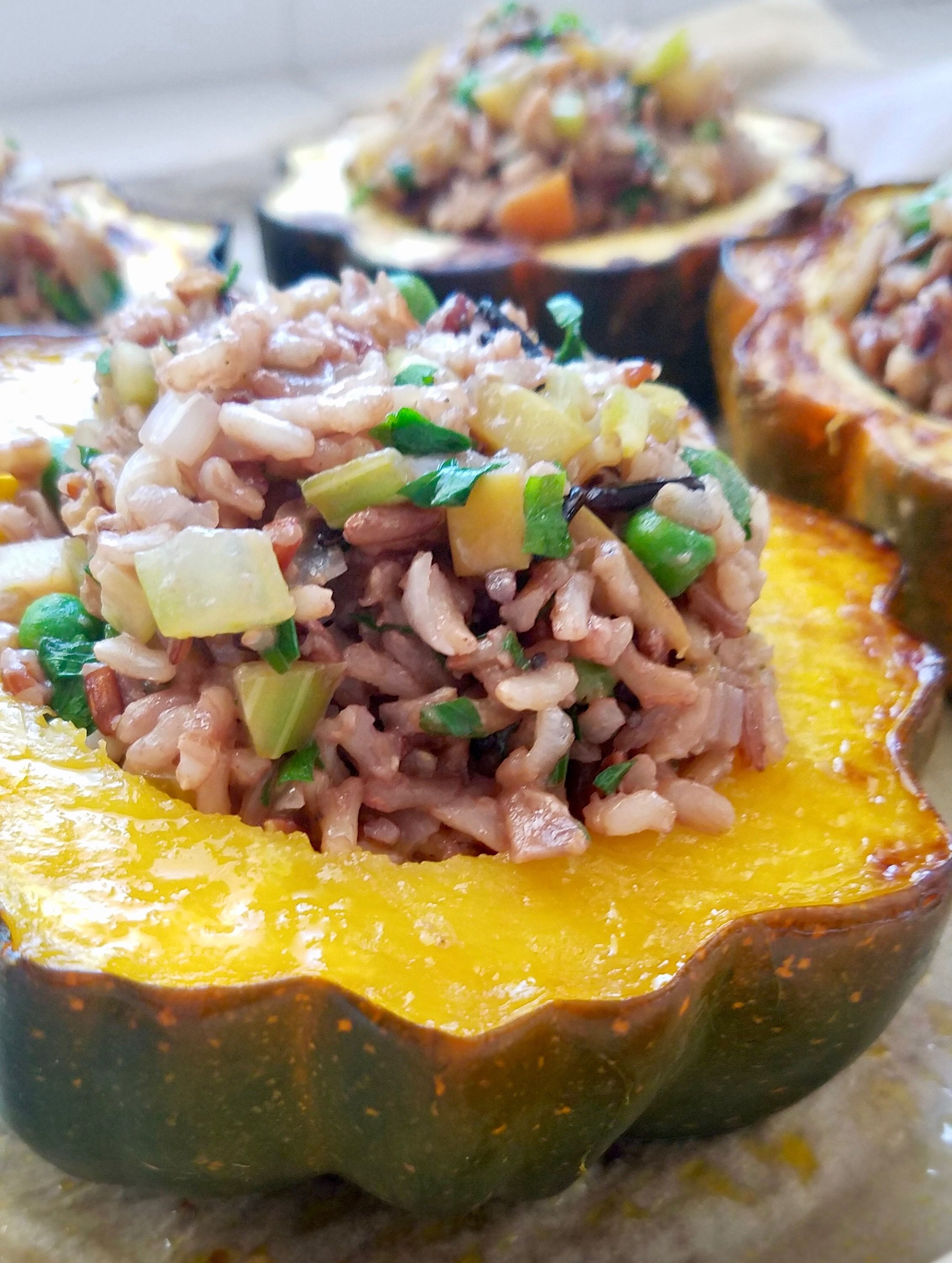 Roasted Acorn Squash Stuffed With Wild Rice Apples And Walnuts