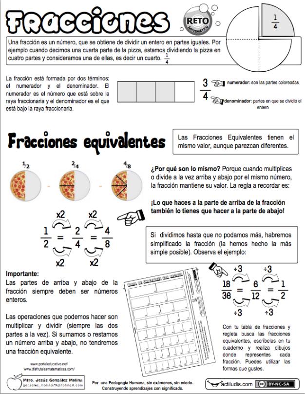 Fracciones equivalentes 01 | cuarto | Pinterest | Escuela ...