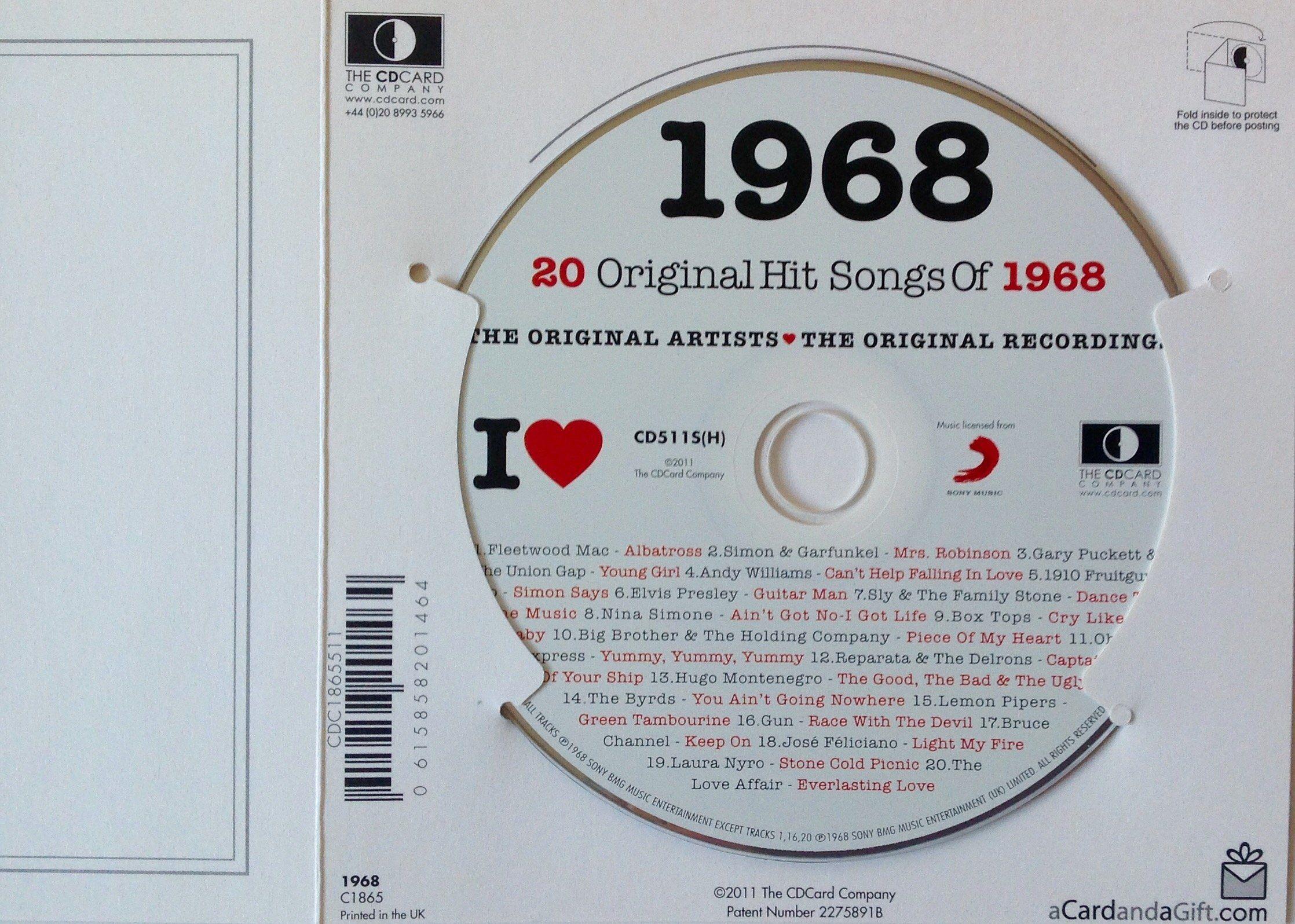 1968 BIRTHDAY Or ANNIVERSARY GIFT I Love Compilation Music Hits CD 20 Original Songs