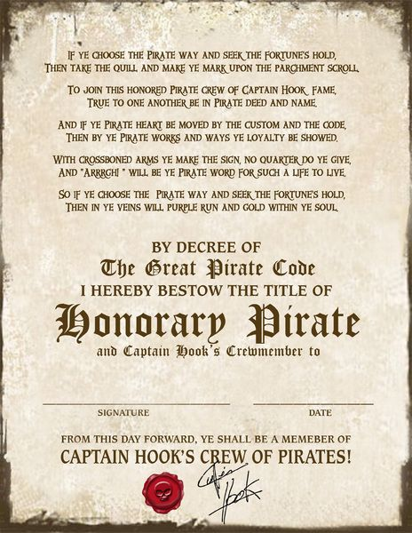 Pirate Certificate Cpt Hook 2400x3106px Free Birthday Pirate