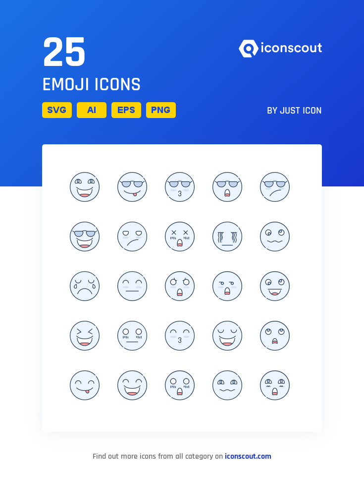 Emoji Icon Pack 25 Colored Outline Icons Icon pack