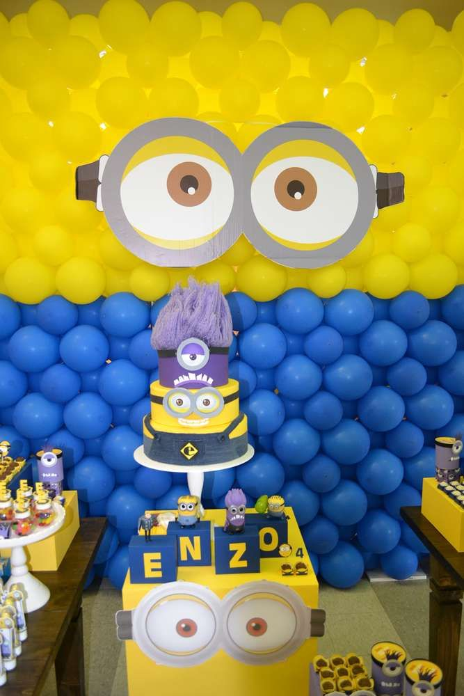 16175553c Cool cake and decorations at a Despicable Me birthday party! See more party  planning ideas at CatchMyParty.com!