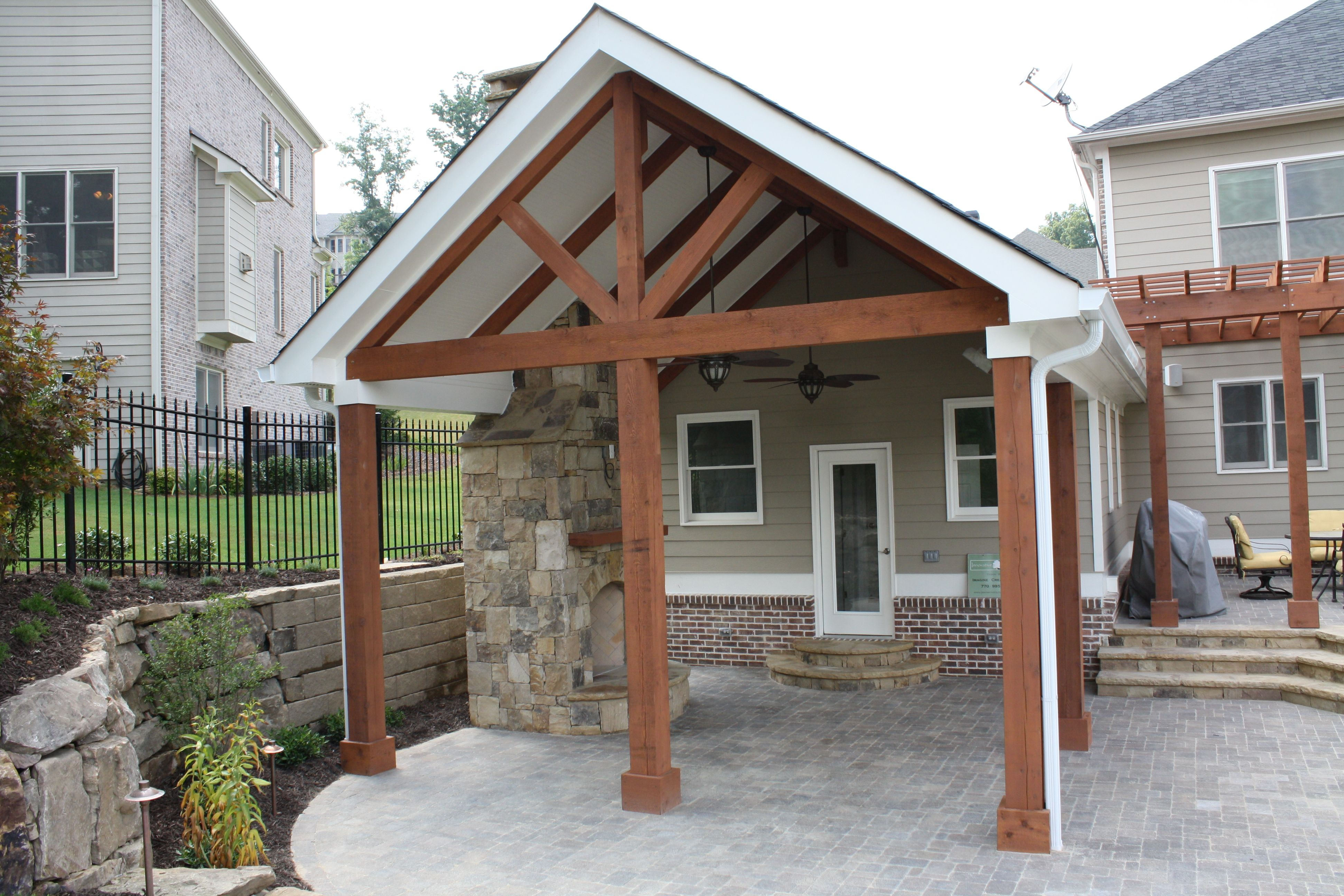 Open Porch Addition With Exposed Beams Front Porch