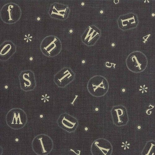 Moda French General Petite Odile Mon Mignon Letters s Fabric in Denim 13612 14   eBay