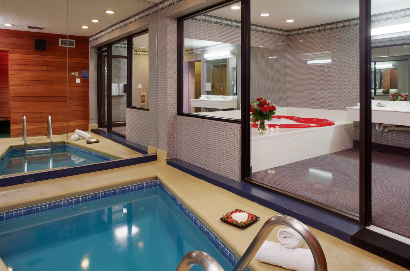 Cove Fantasy Suite Featuring In Suite Pool And Heart Shaped Whirlpool Bath For Two Poconos Resort Fantasy Suites Cove