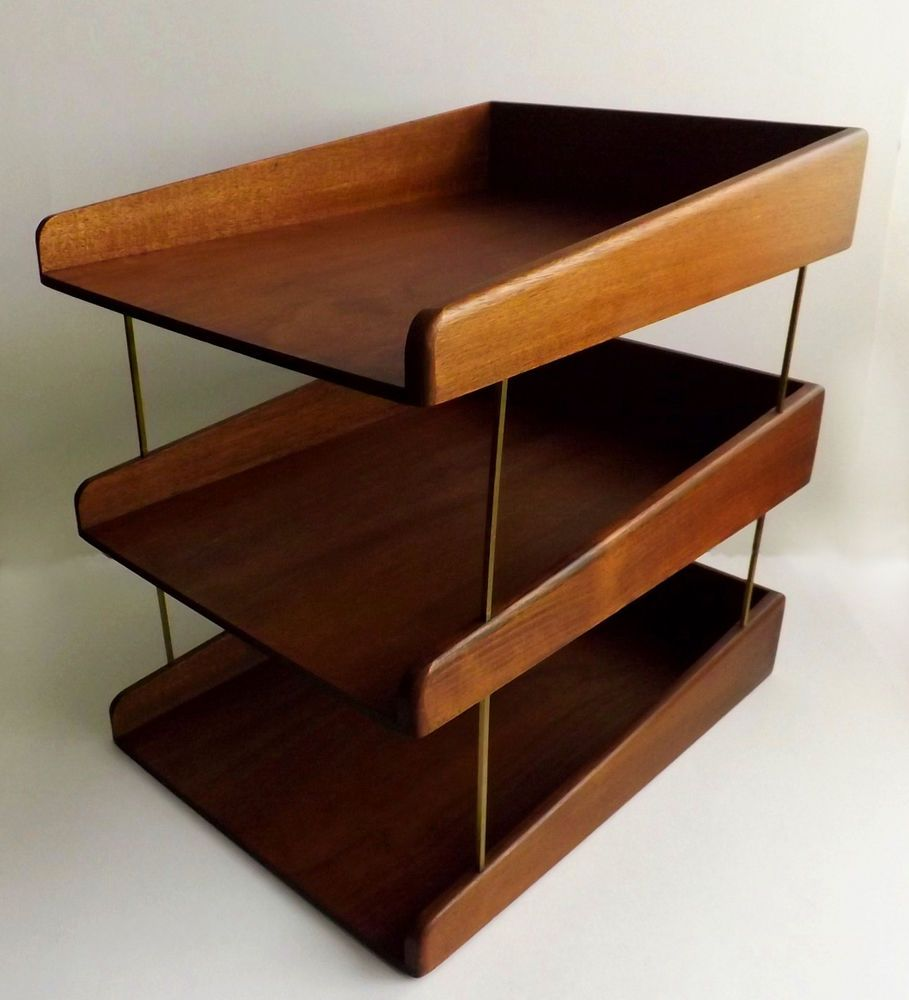danish modern teak or walnut wood 3 tier desk letter tray paper organizer