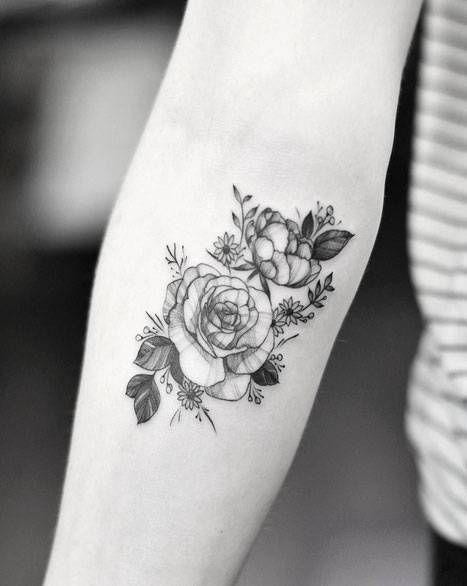 Peony And Rose Tattoo On The Right Inner Forearm Tatuaje
