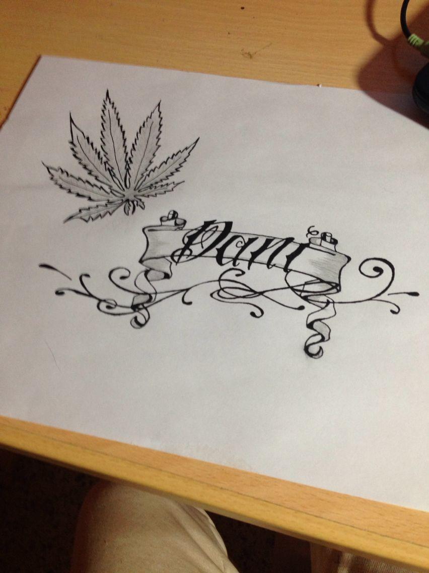 foto de Dibujo pergamino con nombre y hoja de marihuana TATTOO'S Pinterest