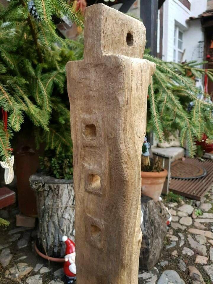 Eichenholz Fachwerk Balken Windlicht Stele in Sachsen