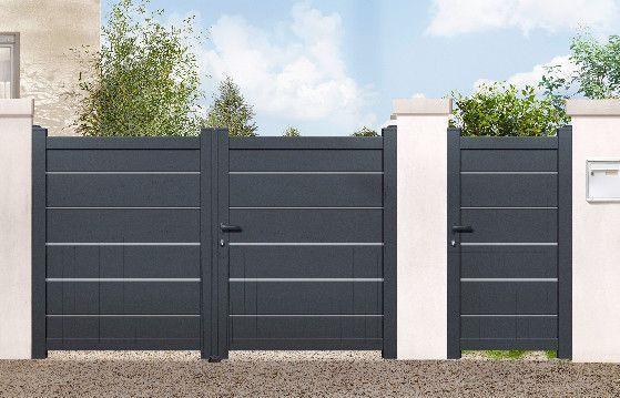 Portail Aluminium Battant Plein 3 5m Modele Amarante Haut 1 80 M Montants 96 X 54 Mm Tr House Main Gates Design Door Gate Design Entrance Gates Design